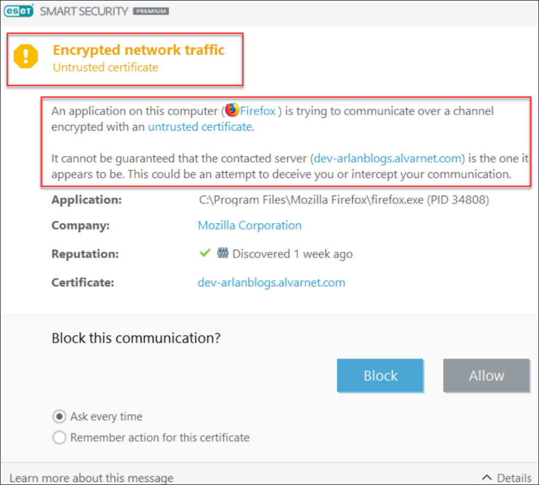 Azure hosted WordPress site has SSL from Fake LE
