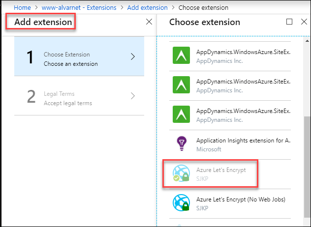 Install and Configure Azure Let's Encrypt Extension for
